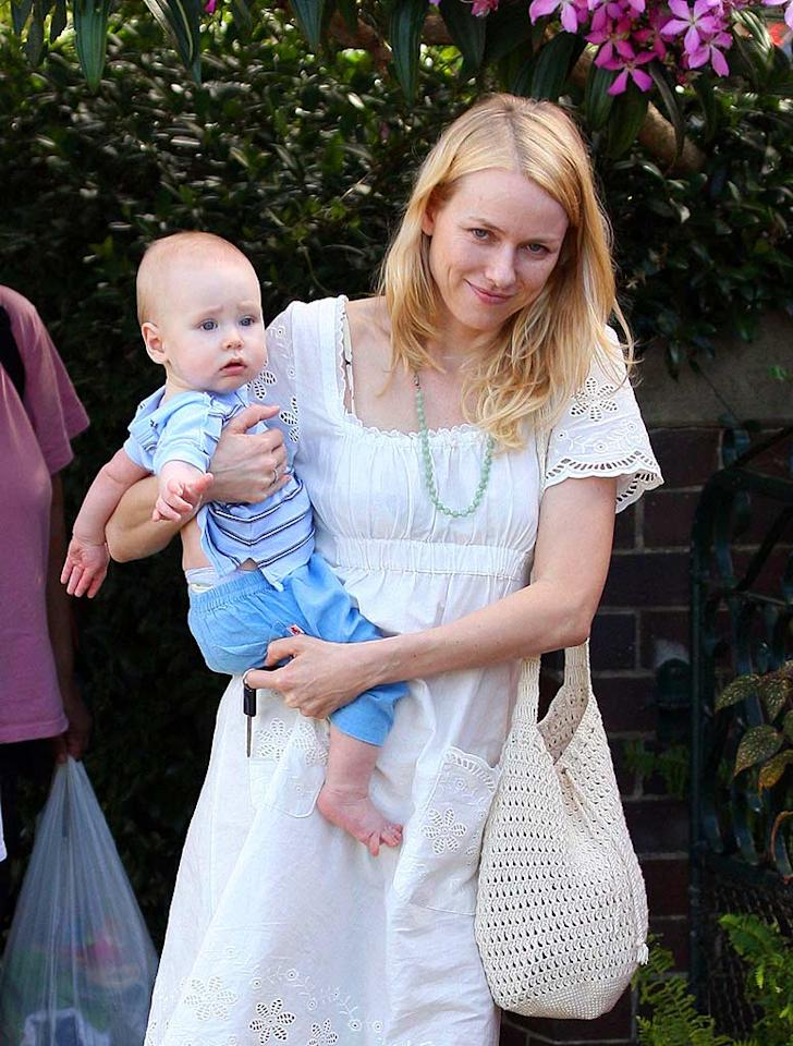 "Let's hope little Alexander doesn't spit up on mom Naomi Watts' white sundress. Picture Media/<a href=""http://www.infdaily.com"" target=""new"">INFDaily.com</a> - February 19, 2008"