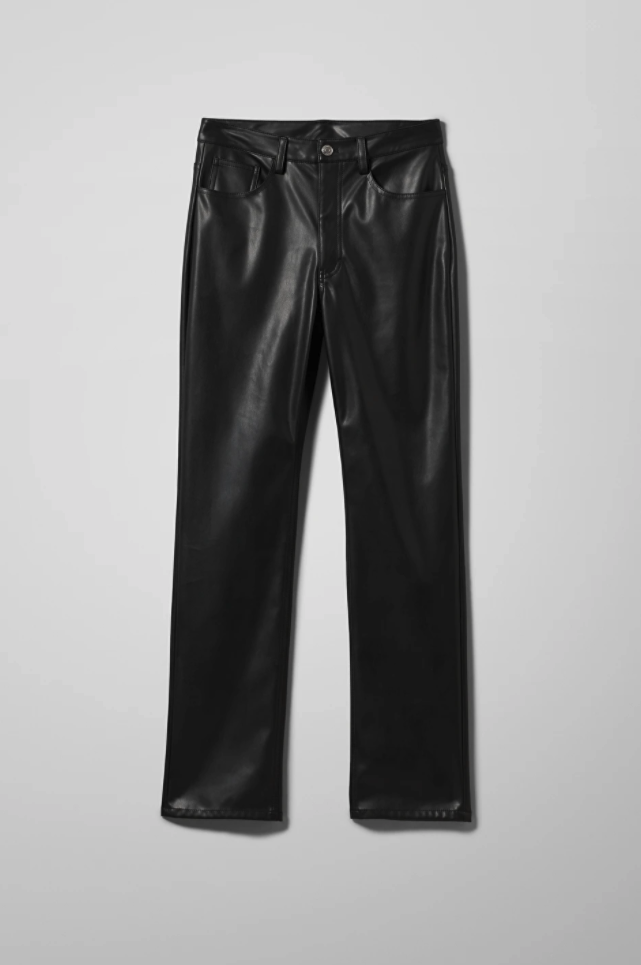 "<br><br><strong>Weekday</strong> Voyage PU Trousers, $, available at <a href=""https://www.weekday.com/en_gbp/women/trousers/product.voyage-pu-trousers-black.0860552003.html?utm_campaign=&utm_content=&utm_source=Channable&utm_medium=cpc&utm_term=&gclid=Cj0KCQiA4feBBhC9ARIsABp_nbWezmI020Td1Wca2MFnrdlyHcwXUxKc3vj99oHhm45O37fA_YAg2WsaAqaoEALw_wcB"" rel=""nofollow noopener"" target=""_blank"" data-ylk=""slk:Weekday"" class=""link rapid-noclick-resp"">Weekday</a>"