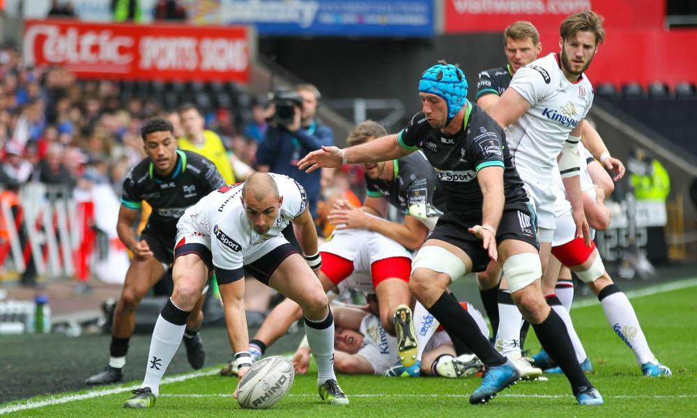 Ulster's Ruan Pienaar flicks the ball off the turf during their 24-10 defeat to Ospreys at the Liberty Stadium in Swansea.