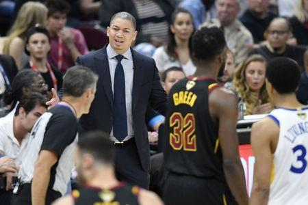 Jun 8, 2018; Cleveland, OH, USA; Cleveland Cavaliers head coach Tyronn Lue reacts during the second quarter in game four of the 2018 NBA Finals against the Golden State Warriors at Quicken Loans Arena. Mandatory Credit: David Richard-USA TODAY Sports
