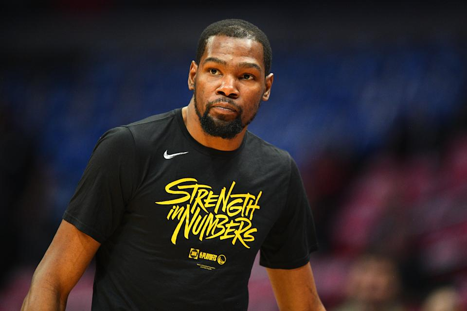Nets GM Sean Marks claims that the Kevin Durant news broke to him when it did to everybody else. (Getty)