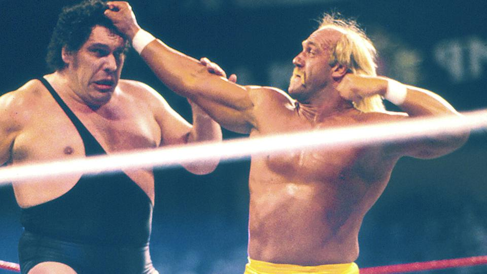 Hulk Hogan and Andre the Giant, pictured here at Wrestlemania in 1988.
