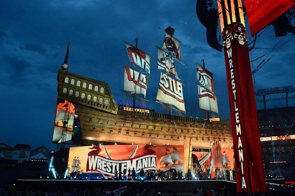 Chief Executive Officer of WWE Vince McMahon addresses fans during WrestleMania 37 at Raymond James Stadium.