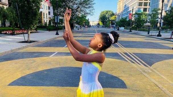 PHOTO: Kaitlyn Saunders, 9, performed a skating routine at the Black Lives Matter Plaza in Washington, D.C. (Katrice Saunders)