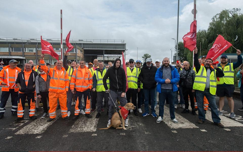 Refuse workers form a picket line at the main refuse depot in London as members of the UNITE trade union strike against their employers - Guy Smallman/Getty Images Europe