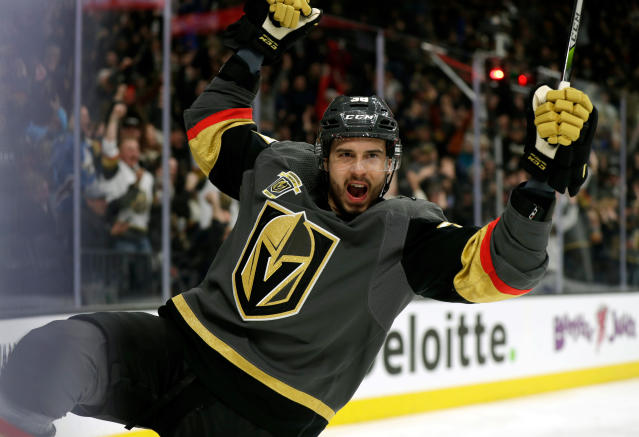 FILE - In this Feb. 23, 2018, file photo, Vegas Golden Knights right wing Thomas Hyka reacts after scoring a goal during the first period of the team's NHL hockey game against the Vancouver Canucks, in Las Vegas. The Golden Knights have come up with a stunning new template for how this expansion thing can be done. They romped to the Pacific Division title with 51 wins. (AP Photo/Isaac Brekken, File)