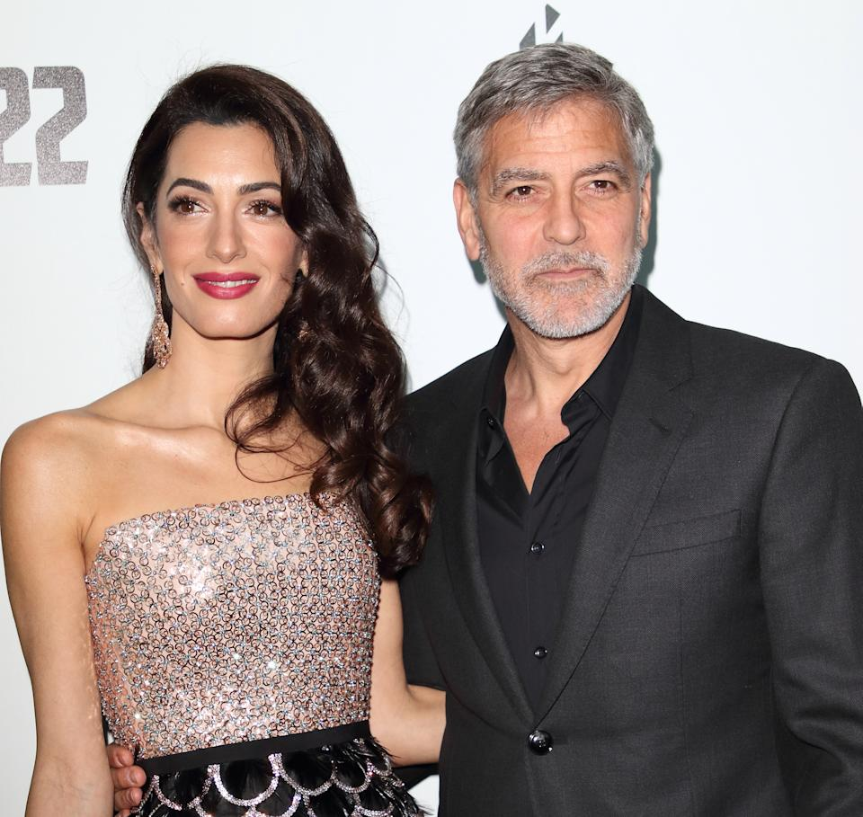 Amal Clooney and George Clooney attend the Catch 22 - TV Series premiere at the Vue Westfield, Westfield Shopping Centre, Shepherds Bush (Photo by Keith Mayhew / SOPA Images/Sipa USA)