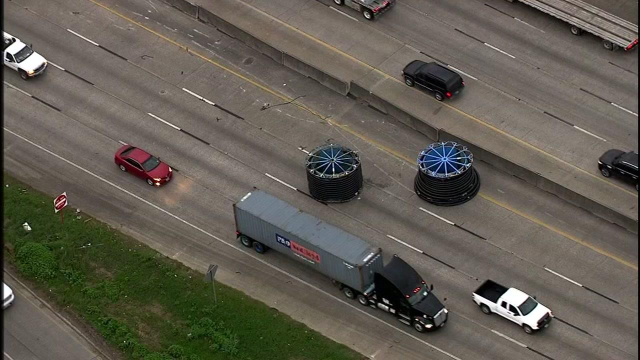 The driver of the truck with the runaway spools was cited for having an overheight load.