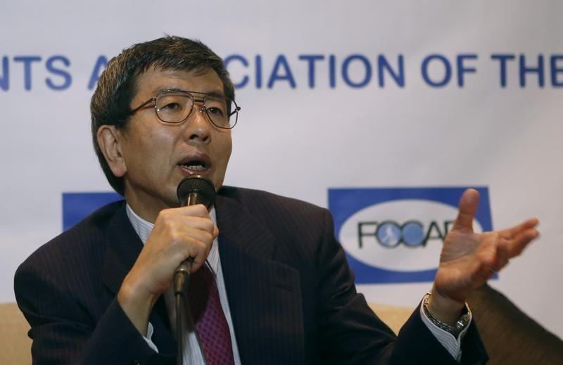 Asian Development Bank President Takehiko Nakao speaks during a forum with members of Foreign Correspondents Association of the Philippines in Mandaluyong city