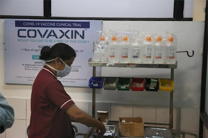 A doctor prepares to inoculate volunteers with India's first Covid-19 vaccine, locally developed by Bharat Biotech in collaboration with the Indian Council of Medical Research (ICMR), during the Phase 3 trial at the People's Medical College in Bhopal, India, 07 December 2020. A