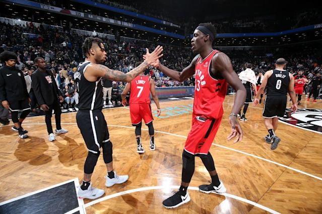 Pascal Siakam and D'Angelo Russell are among the NBA players who made the biggest leaps in 2018-19. (Getty Images)