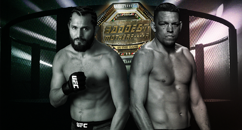 Nate Diaz (R) challenged Jorge Masvidal (L) to a fight for the 'baddest m----------- in the game' belt. (Yahoo Sports illustration)