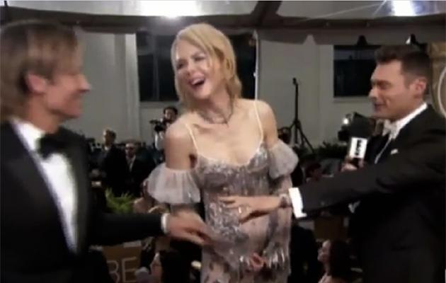 Ryan appeared to make it very clear that he was more interested in interviewing Nicole Kidman. Photo: E! News.