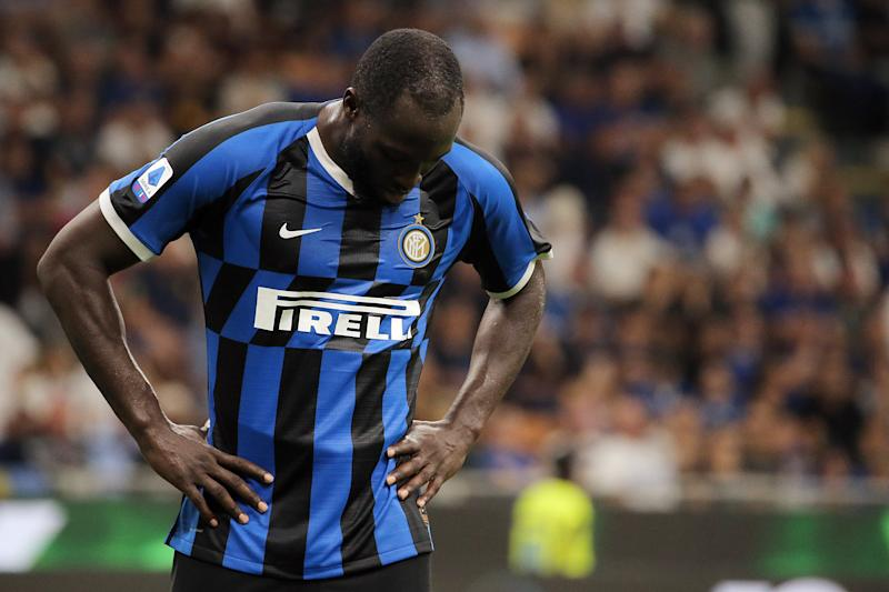 Romelu Lukaku of FC Internazionele reacts to a missed chance during the Serie A match between of FC Internazionele and Udinese Calcio at Stadio Giuseppe Meazza on September 14, 2019 in Milan, Italy. (Photo by Giuseppe Cottini/NurPhoto via Getty Images)