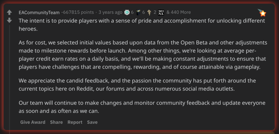 EA's Reddit post which earned the title of most downvoted comment of all time.