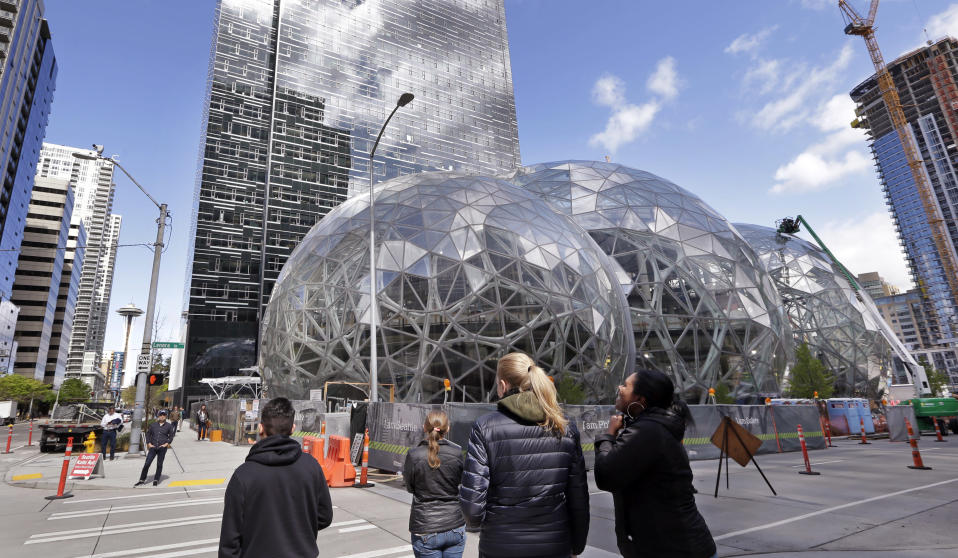 Although Amazon's Seattle headquarters is already sprawling, the tech giant plans on opening a second headquarters elsewhere in the U.S. Source: AP Photo/Elaine Thompson