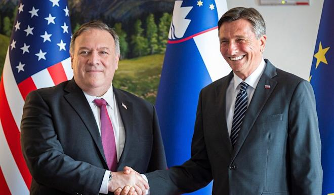 Pompeo and Slovenia's President Borut Pahor before their meeting in Bled, Slovenia. Photo: AP