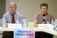 FILE - In this Friday, May 21, 2021 file photo, Amy Allen, the mother of an eighth grade transgender son, speaks at a Human Rights Campaign round table discussion on anti-transgender laws, in Nashville, Tenn. Allen says her family is dismayed by the multiple anti-trans bills winning approval in Tennessee – including one exposing public schools to lawsuits if they let transgender students use multi-person bathrooms or locker rooms that don't reflect their sex at birth. At left is Chris Sanders, Tennessee Equality Project executive director. (AP Photo/Mark Humphrey, File)