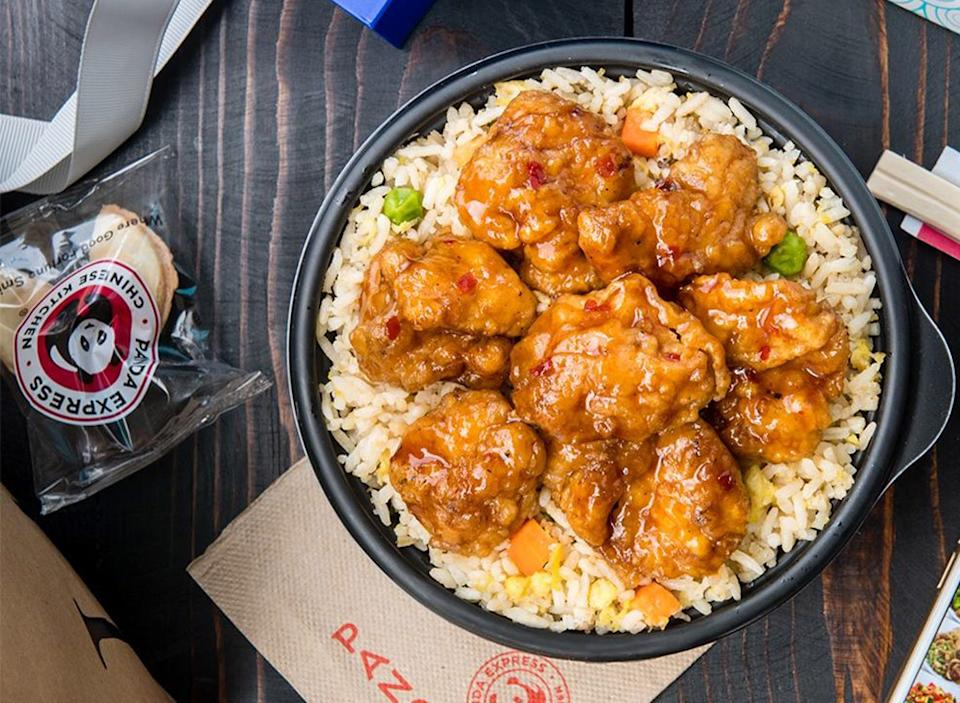 panda express orange chicken with rice bowl