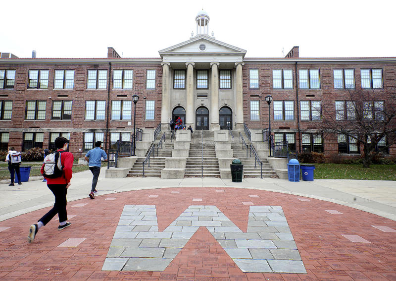 """Outrage was growing among members of Madison, Wis.' black community after West High School security guard Marlon Anderson was fired for what he said was explicitly telling a student not to call him the """"N-word"""" after the student repeatedly called him the slur. The school is pictured in a Monday, Nov. 12, 2018 file photo. (John Hart/Wisconsin State Journal via AP)"""