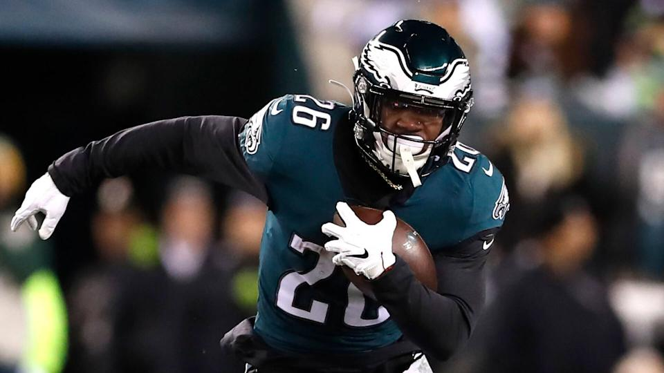 Mandatory Credit: Photo by Julio Cortez/AP/Shutterstock (10521222ea)Philadelphia Eagles running back Miles Sanders runs with the ball against the Seattle Seahawks during the first half of an NFL wild-card playoff football game, in Philadelphia.