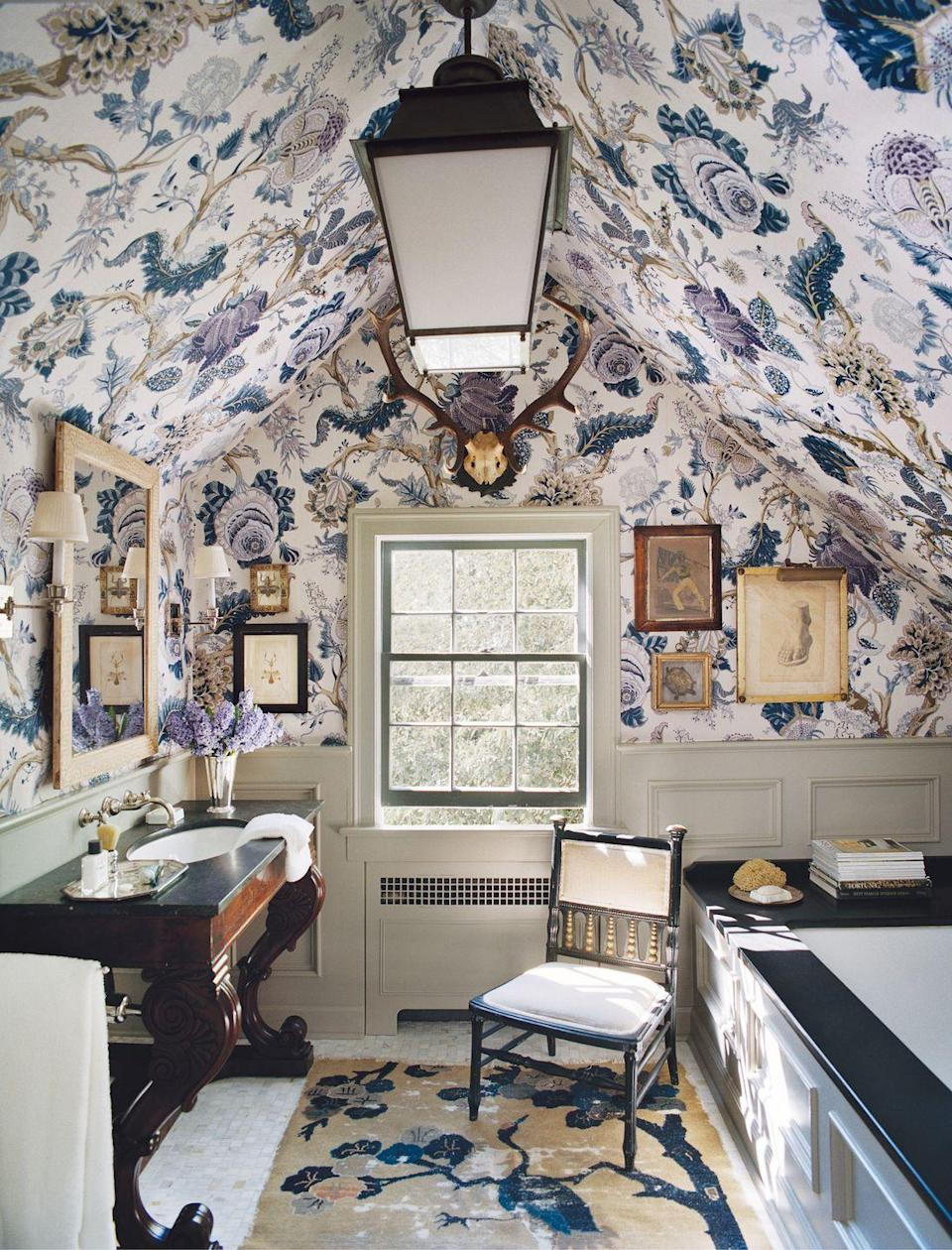 """<p>If you think chintz never went out of style, you will most definitely fall in the classic camp. Always inspired and never stuffy, these more traditional spaces favor a more fanciful yet livable look. A bountiful <a href=""""https://www.veranda.com/home-decorators/a33301568/tree-of-life-pattern-history/"""" rel=""""nofollow noopener"""" target=""""_blank"""" data-ylk=""""slk:tree-of-life pattern"""" class=""""link rapid-noclick-resp"""">tree-of-life pattern</a> (Indian Abre) makes quite the statement within this quaint bathroom. </p>"""