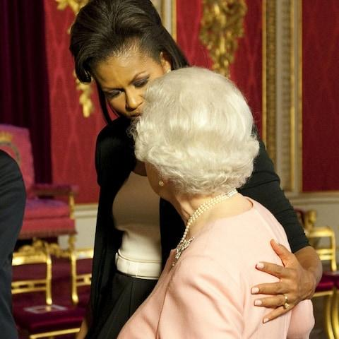 Michelle Obama and the Queen - Credit: Daniel Hambury/AP
