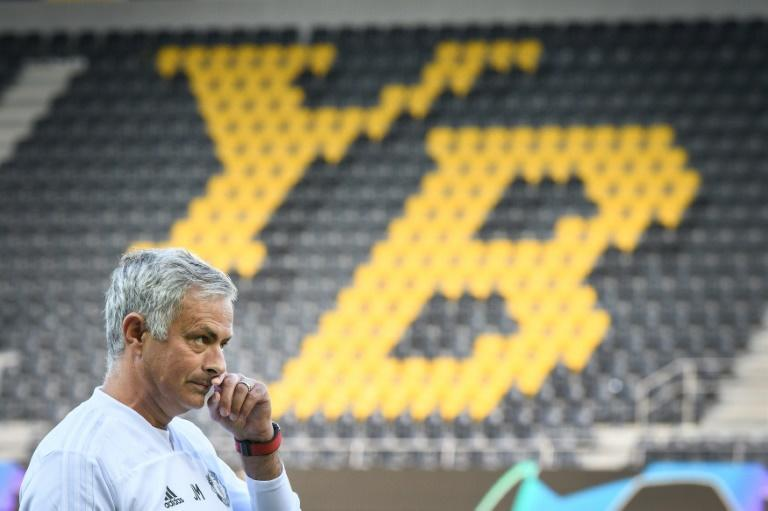 Jose Mourinho oversees Manchester United's training session at the Stade de Suisse on Tuesday