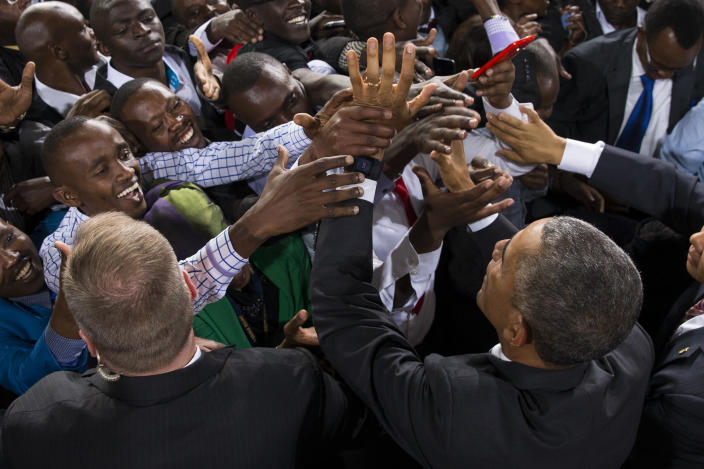 Barack Obama, bottom right, greets supporters after delivering a speech at Safaricom Indoor Arena in Nairobi, July 26, 2015. (Photo: Evan Vucci/AP)