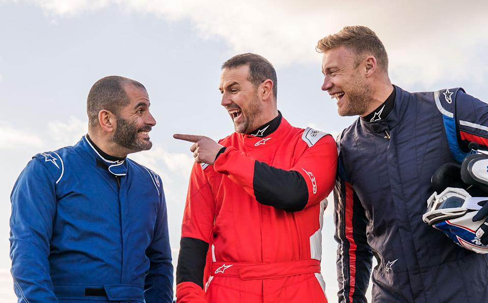Chris Harris, Paddy McGuinness, Freddie Flintoff in new <i>Top Gear</i>. (BBC)