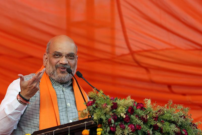 India's ruling Bharatiya Janata Party (BJP) president Amit Shah delivers his speech during an election rally in Prayagraj, India, Monday, April 29, 2019. (AP Photo/Rajesh Kumar Singh)