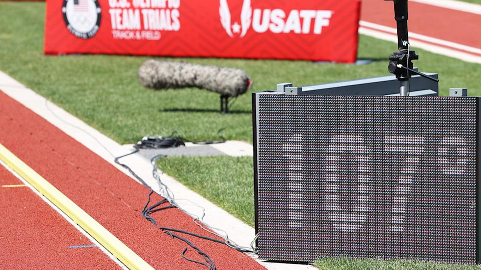 A temperature of 107 degrees Fahrenheit, pictured here being displayed at the US Olympic Track and Field Trials.