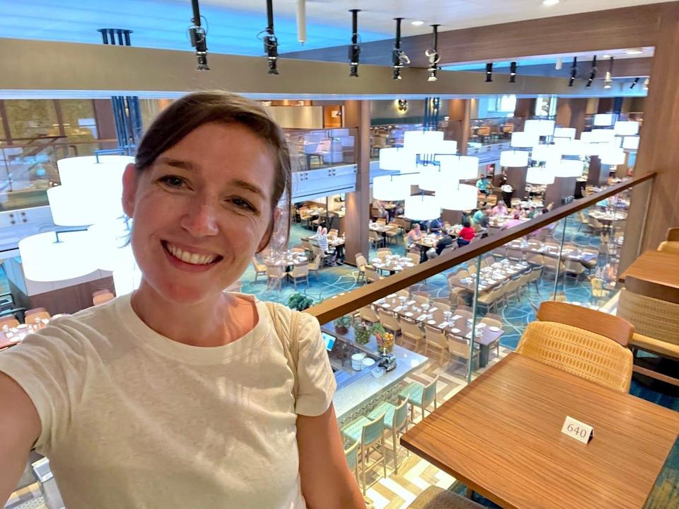 The author in Carnival Vista's largest dining room.