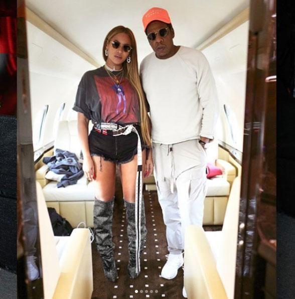 Bey and Jay show off their luxe lifestyle in their private jet. Source: Instagram