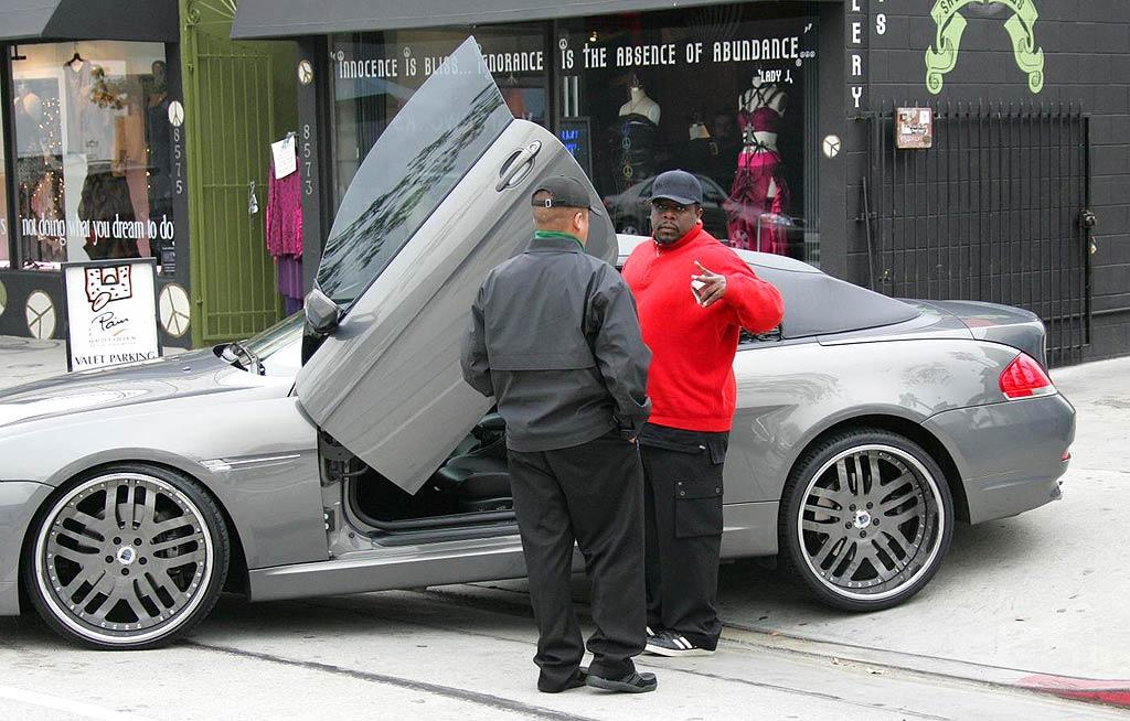 "Cedric the Entertainer's modified BMW coupe comes complete with wing doors. Juan Soliz/<a href=""http://www.pacificcoastnews.com/"" target=""new"">PacificCoastNews.com</a> - February 19, 2008"
