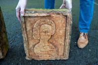 One of the two limestone Visigoth reliefs recovered by a Dutch art detective