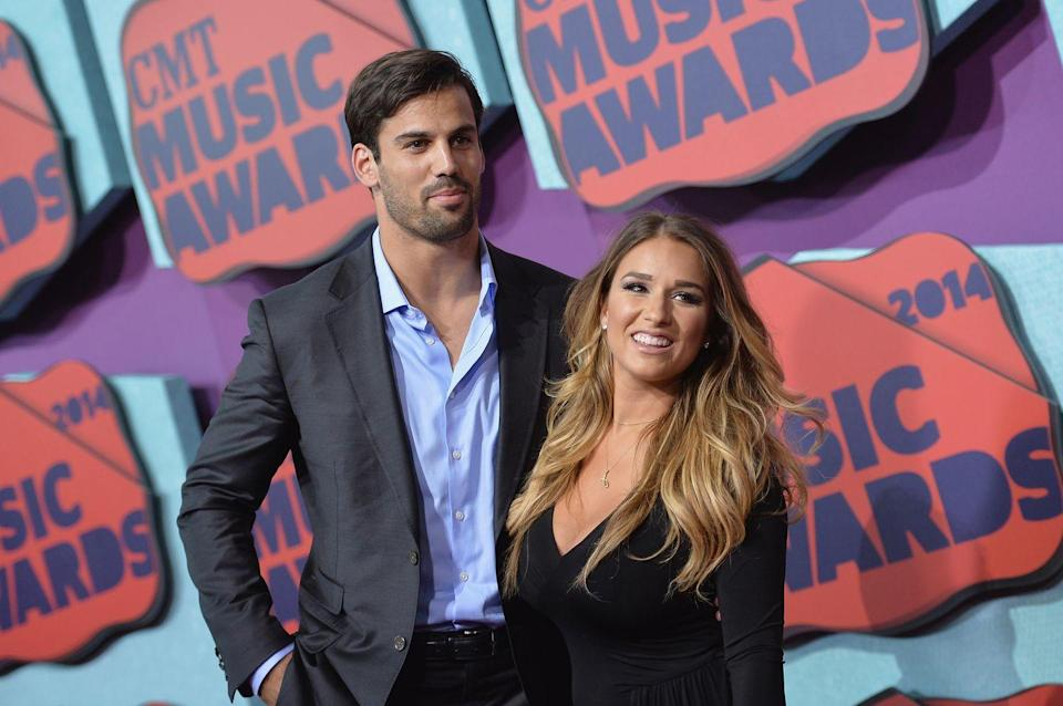 "<p>Country singer Jessie James met her husband, retired football player Eric Decker, <a href=""https://www.bustle.com/articles/96136-how-did-jessie-james-eric-decker-meet-in-a-totally-normal-but-kinda-creepy-way"" rel=""nofollow noopener"" target=""_blank"" data-ylk=""slk:through a mutual friend"" class=""link rapid-noclick-resp"">through a mutual friend</a>. In 2013, <a href=""https://bleacherreport.com/articles/1682193-eric-decker-and-jessie-james-wedding-attendees-photos-and-details"" rel=""nofollow noopener"" target=""_blank"" data-ylk=""slk:the pair married"" class=""link rapid-noclick-resp"">the pair married</a> then welcomed their first child nine months later. The couple even had a reality TV show called <a href=""https://www.nbc.com/eric-and-jessie"" rel=""nofollow noopener"" target=""_blank"" data-ylk=""slk:Eric and Jessie"" class=""link rapid-noclick-resp""><em>Eric and Jessie</em></a>.</p>"