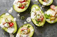 "<p>These ceviche-stuffed avocados have it <em>all</em> — spicy serrano chiles, fresh cooked shrimp, bright orange juice, and Mexican avocados. </p><p><em><em><a href=""https://www.goodhousekeeping.com/food-recipes/easy/a36251/citrusy-shrimp-stuffed-avocados"" rel=""nofollow noopener"" target=""_blank"" data-ylk=""slk:Get the recipe for Citrusy Shrimp-Stuffed Avocados »"" class=""link rapid-noclick-resp"">Get the recipe for Citrusy Shrimp-Stuffed Avocados »</a></em> </em> </p>"
