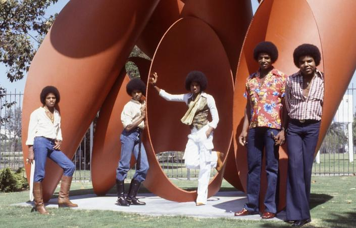 The Jacksons, from left, Michael, Marlon, Randy, Jackie and Tito, at the Los Angeles County Museum of Art in 1978.