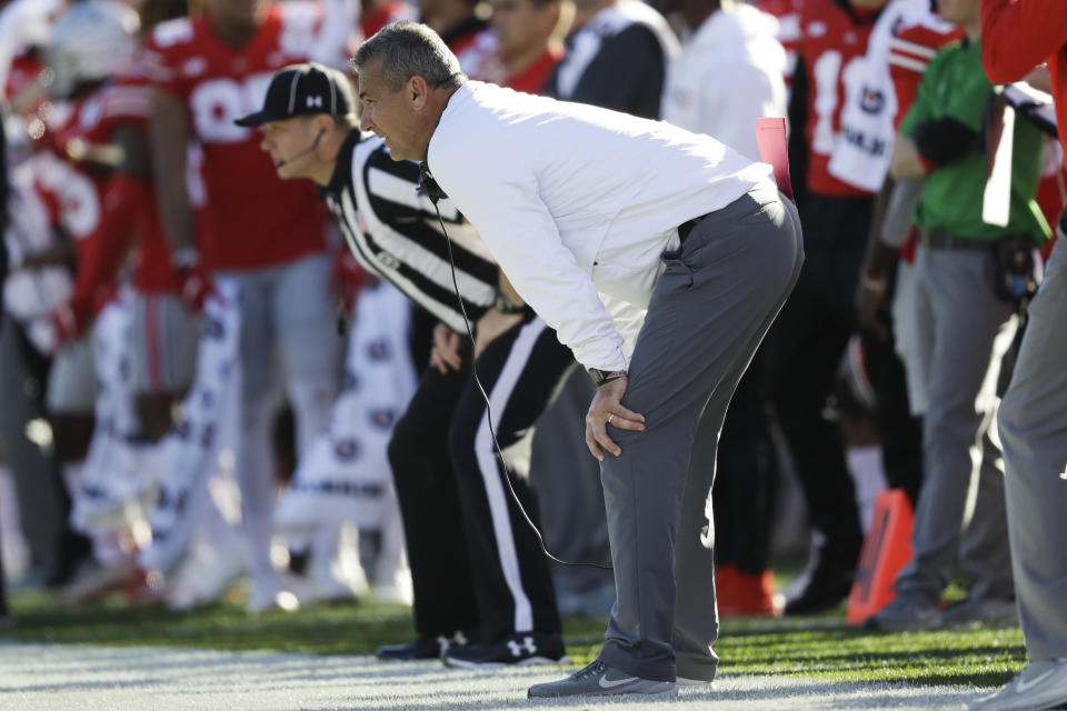 Ohio State head coach Urban Meyer watches during the first half of the Rose Bowl NCAA college football game against Washington Tuesday, Jan. 1, 2019, in Pasadena, Calif. (AP Photo/Marcio Jose Sanchez)