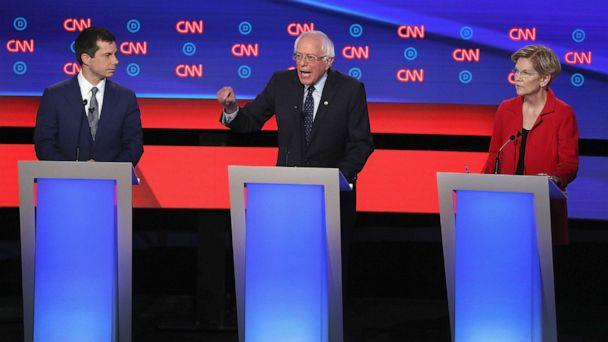 PHOTO: Democratic presidential candidates Sen. Bernie Sanders (I-VT) (C) speaks while Sen. Elizabeth Warren (D-MA) and South Bend, Indiana Mayor Pete Buttigieg (L) listen at the beginning of the Democratic Presidential Debate, July 30, 2019, in Detroit. (Justin Sullivan/Getty Images)