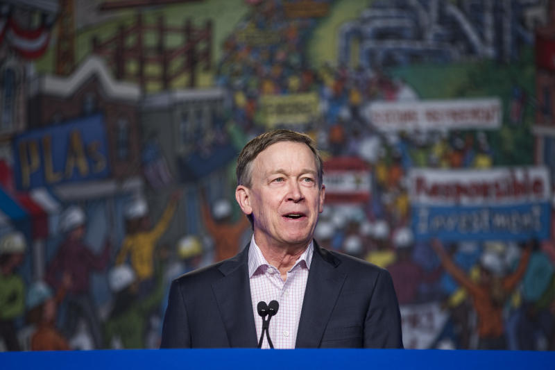John Hickenlooper speaks during the North American Building Trades Unions Conference in Washington, DC. | Zach Gibson—Getty Images