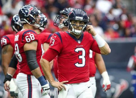 FILE PHOTO: Houston Texans quarterback Tom Savage (3) reacts after a play during the game against the San Francisco 49ers in Houston, Texas, U.S., December 10, 2017. Mandatory Credit: Troy Taormina-USA TODAY Sports/File Photo