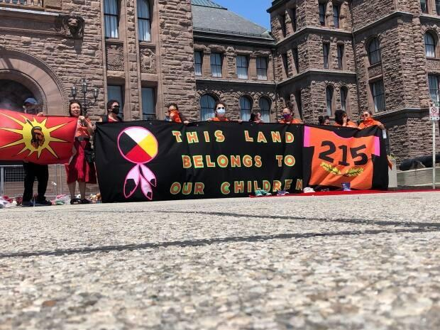 Organizers say the Bring Our Children Home rally and march on Sunday in Toronto was an attempt to bring together Indigenous people, their allies, survivors of intergenerational trauma and survivors of residential schools. (Kirthana Sasitharan/CBC - image credit)