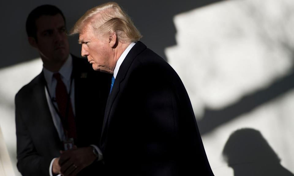 Donald Trump arrives to speak live via video link to the annual March for Life.