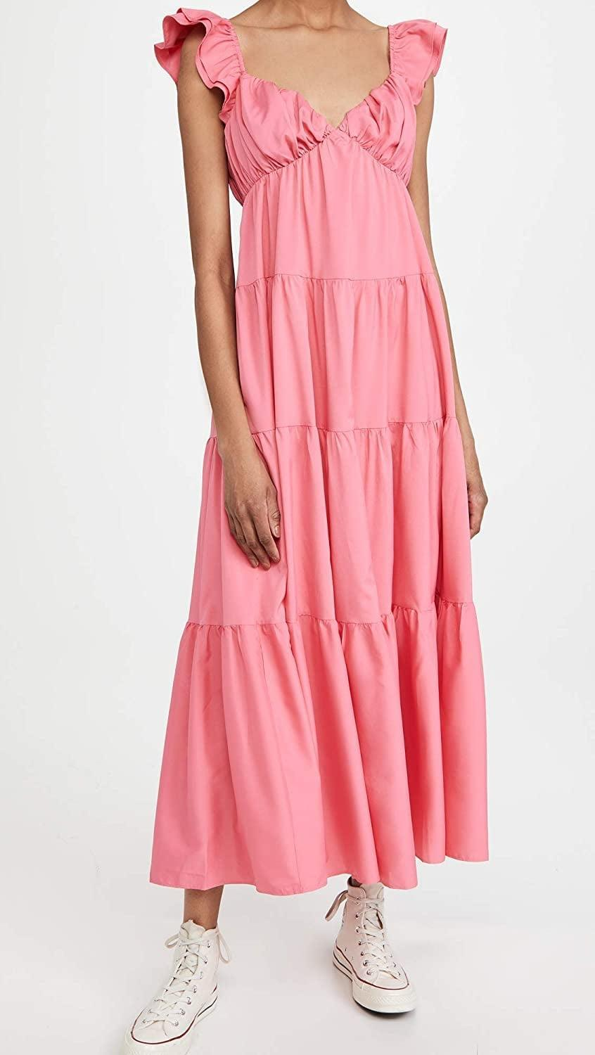 <p>For some <strong>Bridgerton</strong> vibes, slip into this <span>English Factory Ruffle Sleeve Maxi Dress</span> ($90). It also comes in a pretty blue shade.</p>