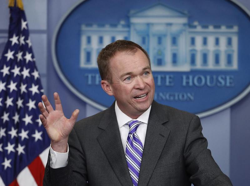 "FILE - In a Monday, Feb. 27, 2017 photo, director of the White House Office of Management and Budget Mick Mulvaney speaks to reporters during a daily press briefing at the White House in Washington. Republicans on Sunday, March 12, 2017, dismissed an upcoming Congressional Budget Office analysis widely expected to conclude that more Americans will be uninsured under a proposal to dismantle Barack Obama's health law, despite President Donald Trump's promise of universal coverage. Speaking on on ABC's ""This Week"" Sunday, Mulvaney disputed the accuracy of CBO data. (AP Photo/Manuel Balce Ceneta, File)"