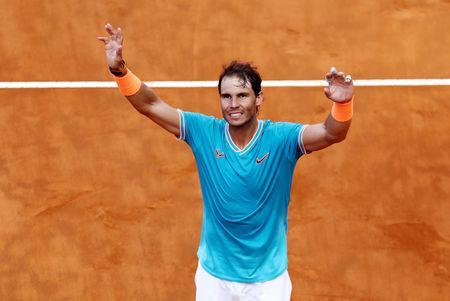 FILE PHOTO: Tennis - ATP 1000 - Italian Open - Foro Italico, Rome, Italy - May 19, 2019 Spain's Rafael Nadal celebrates winning the final against Serbia's Novak Djokovic REUTERS/Matteo Ciambelli