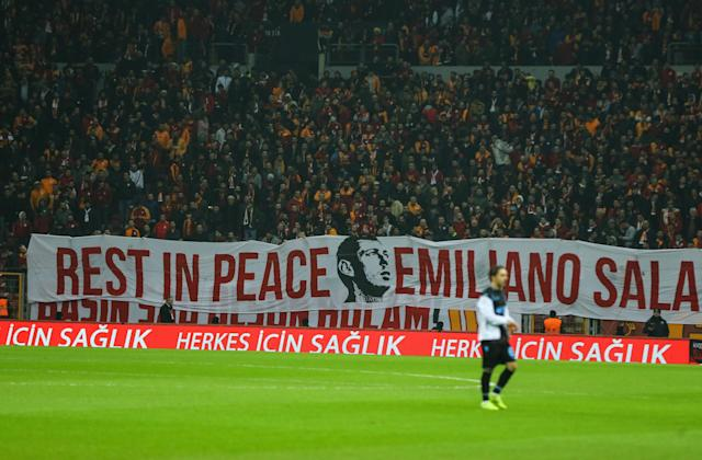 His death moved football fans globally - with fans in Turkey unfolding a banner in tribute. (Photo by Salih Zeki Fazlioglu/Anadolu Agency/Getty Images)