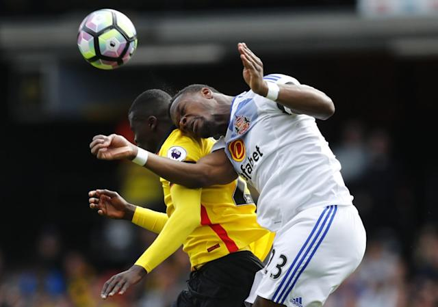<p>Watford's M'Baye Niang in action with Sunderland's Lamine Kone </p>